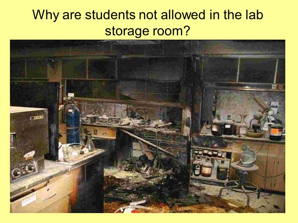 Why are students not allowed in the lab storage room
