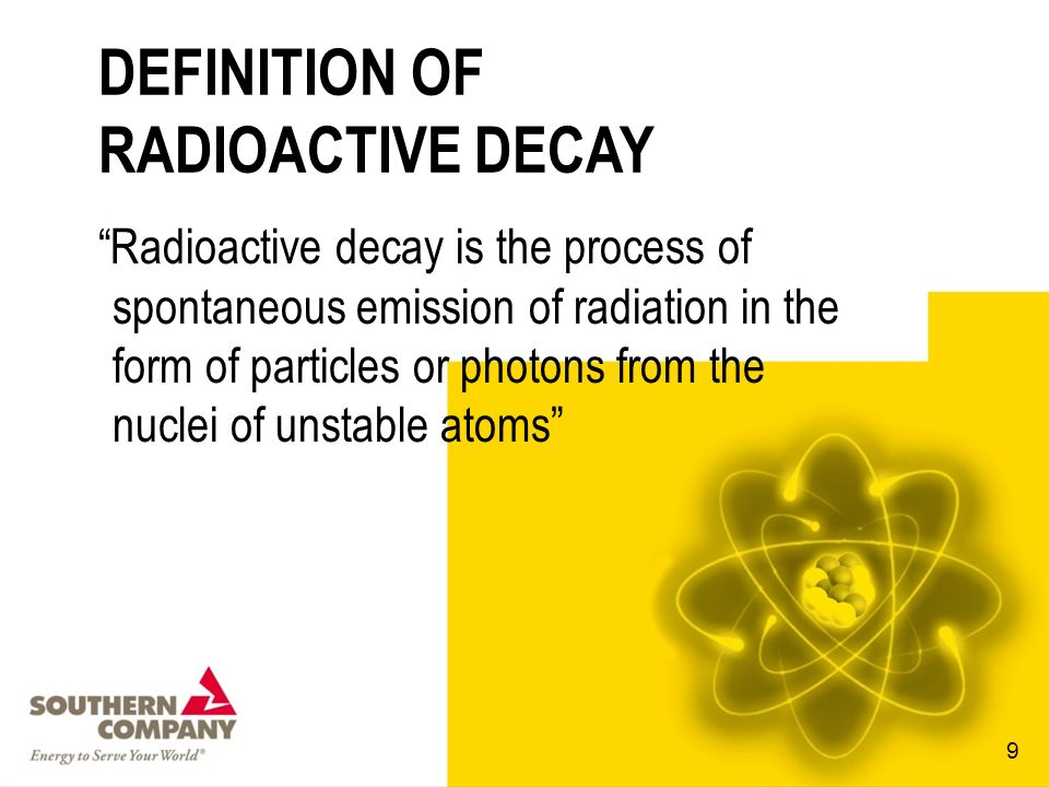 DEFINITION OF RADIOACTIVE DECAY