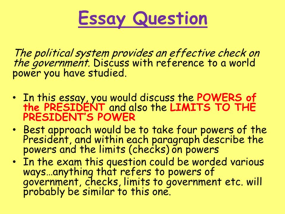 Political System And Process  Ppt Download  Essay Question The Political System  How To Write An Essay Thesis also Hire Writer  My School Essay In English