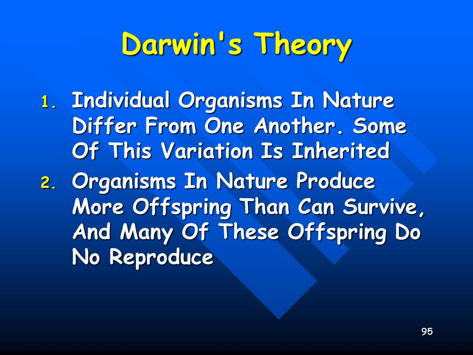 Darwin s Theory Individual Organisms In Nature Differ From One Another. Some Of This Variation Is Inherited.