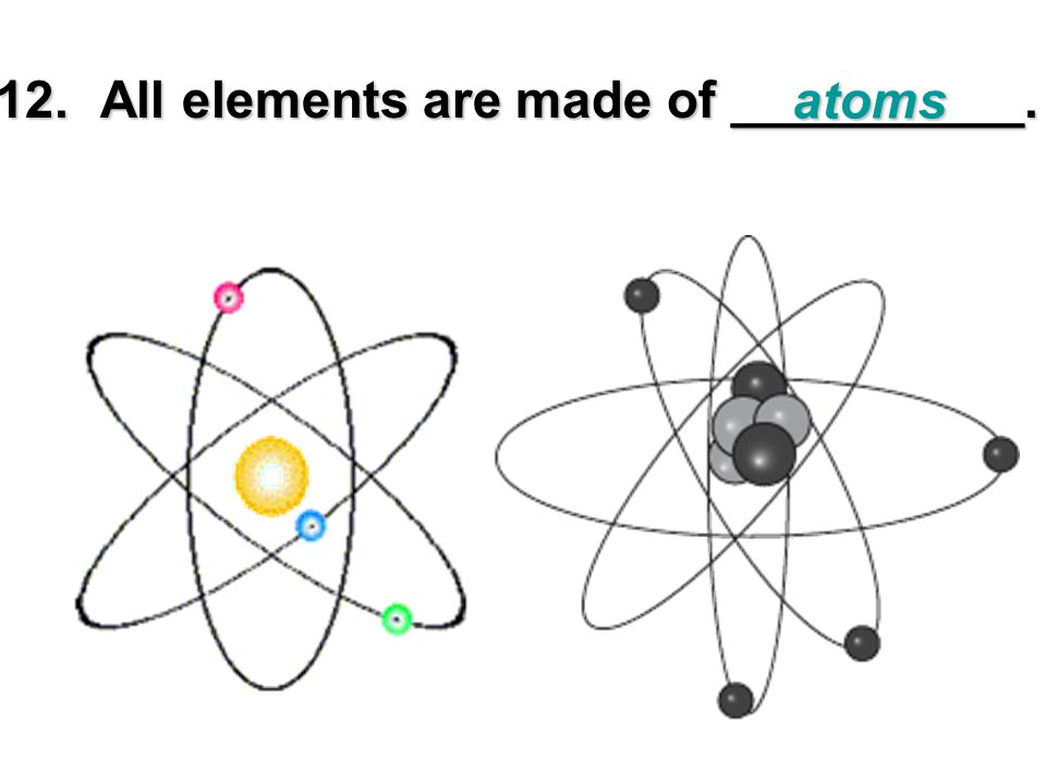12. All elements are made of __________.