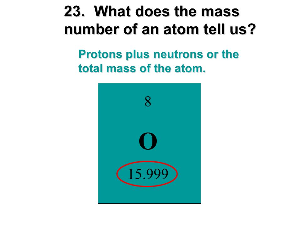 O 23. What does the mass number of an atom tell us