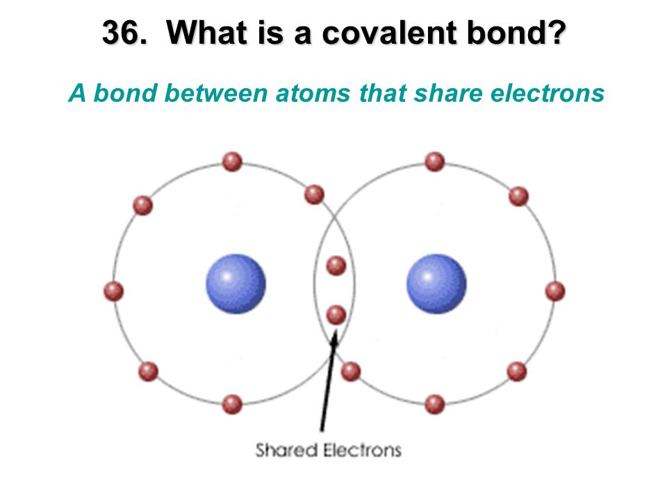 36. What is a covalent bond A bond between atoms that share electrons