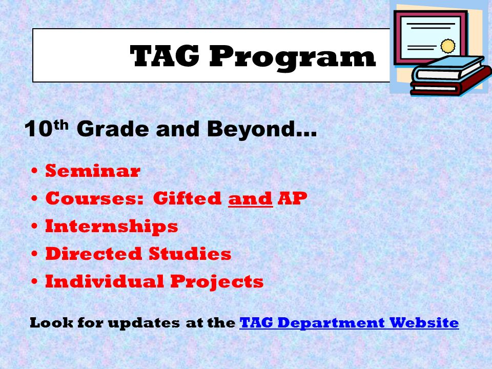 TAG Program Seminar Courses: Gifted and AP Internships