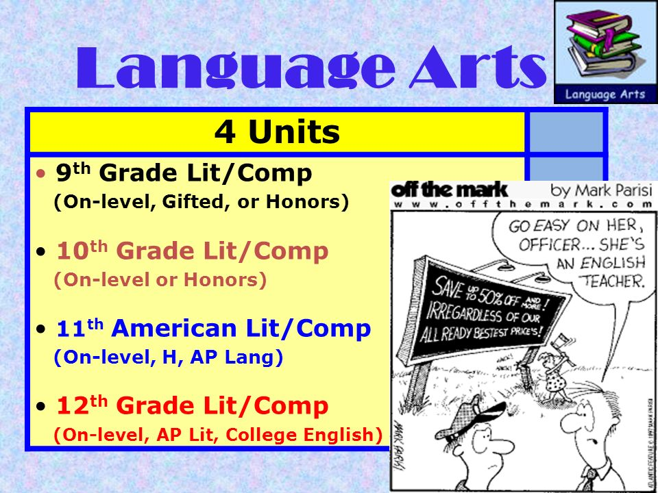 Language Arts 4 Units 9th Grade Lit/Comp 10th Grade Lit/Comp