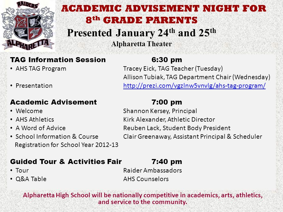 ACADEMIC ADVISEMENT NIGHT FOR 8th GRADE PARENTS Presented January 24th and 25th Alpharetta Theater