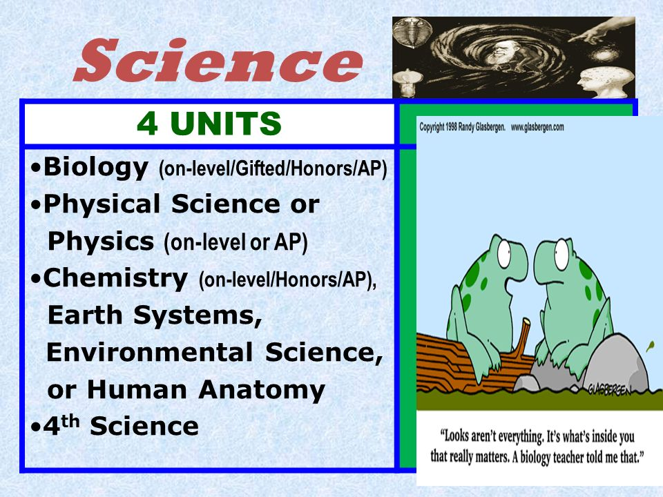 Science 4 UNITS Biology (on-level/Gifted/Honors/AP)