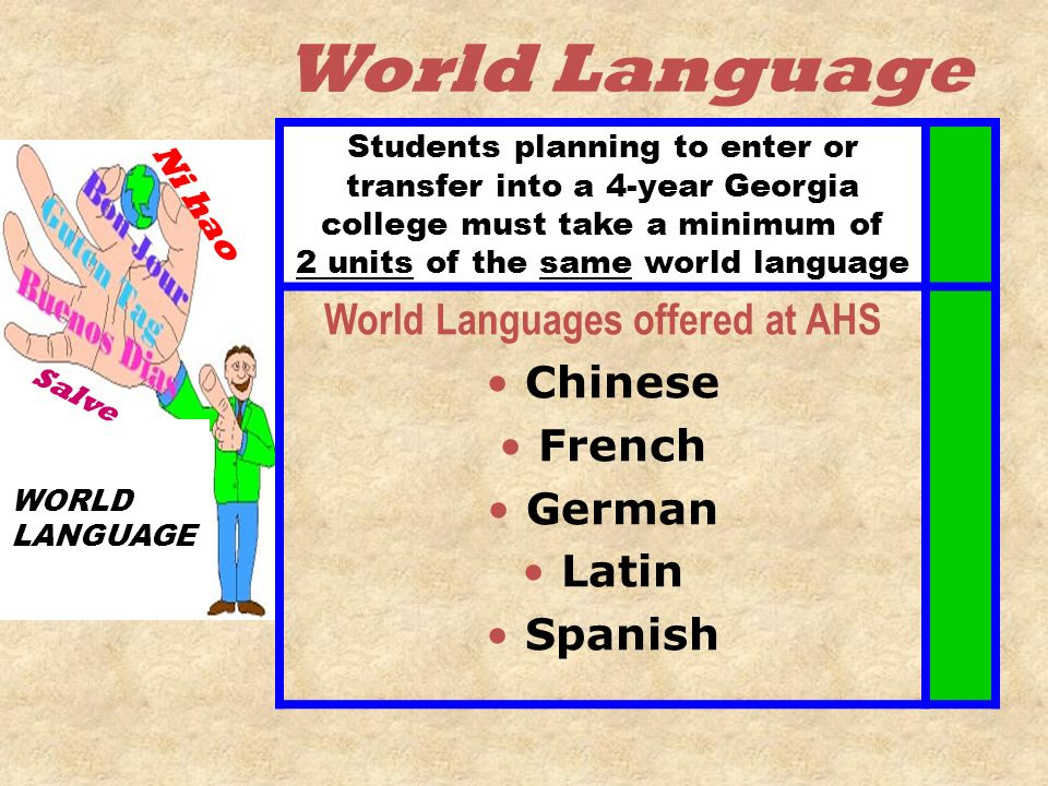 World Languages offered at AHS