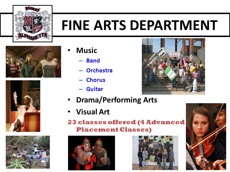 FINE ARTS DEPARTMENT Music Drama/Performing Arts Visual Art Band