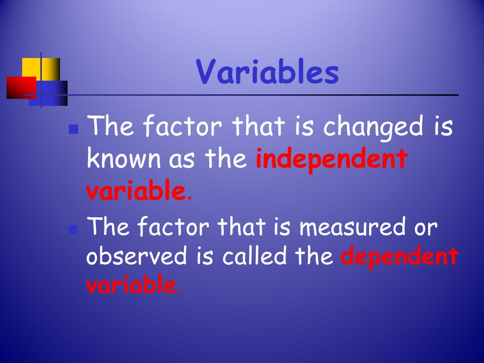 Variables The factor that is changed is known as the independent variable.