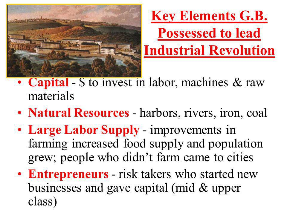Key Elements G.B. Possessed to lead Industrial Revolution