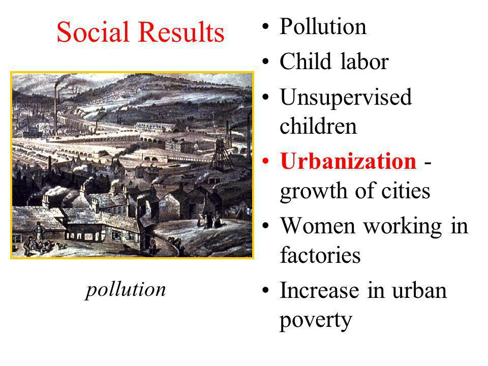 Social Results Pollution Child labor Unsupervised children