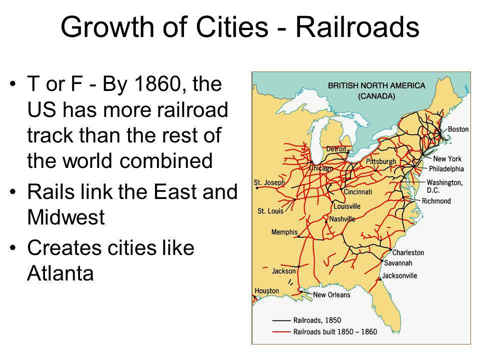 Growth of Cities - Railroads