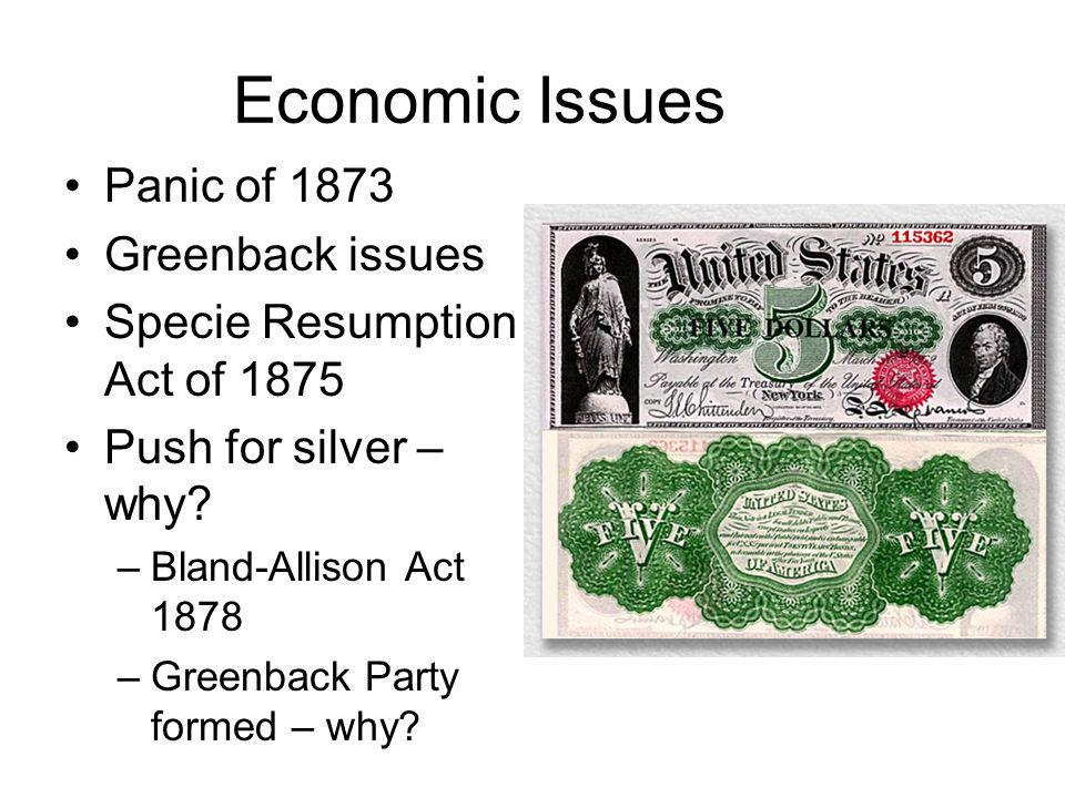 Economic Issues Panic of 1873 Greenback issues