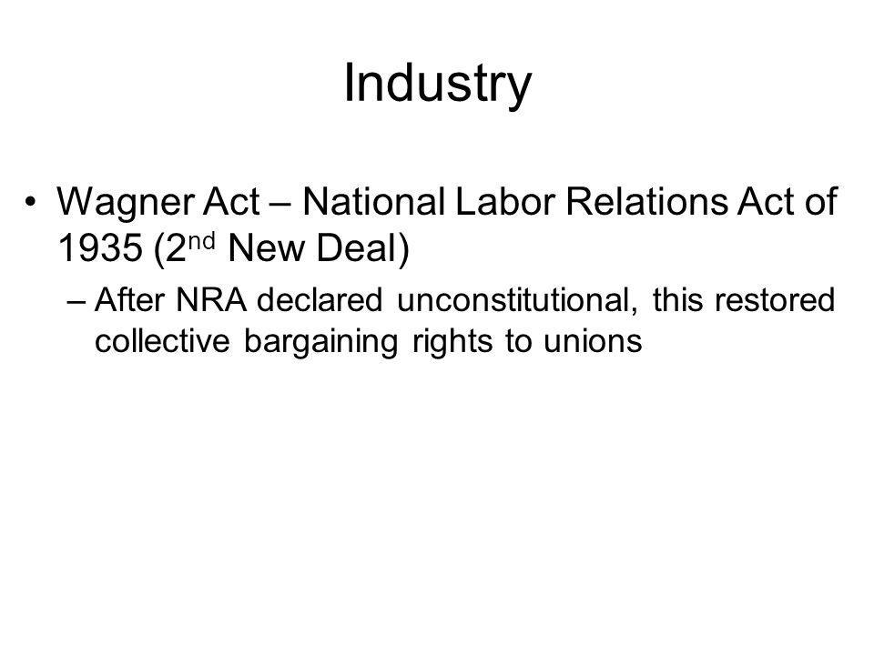 Industry Wagner Act – National Labor Relations Act of 1935 (2nd New Deal)