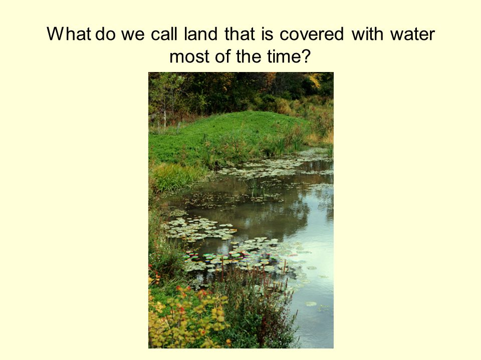 What do we call land that is covered with water most of the time
