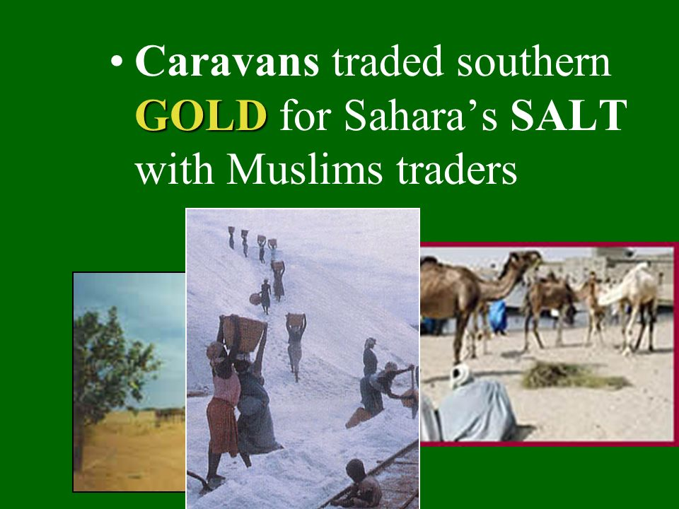 Caravans traded southern GOLD for Sahara's SALT with Muslims traders