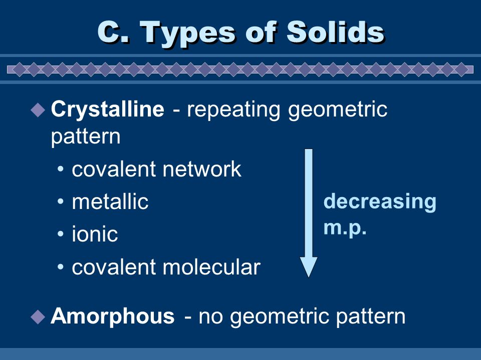 C. Types of Solids Crystalline - repeating geometric pattern