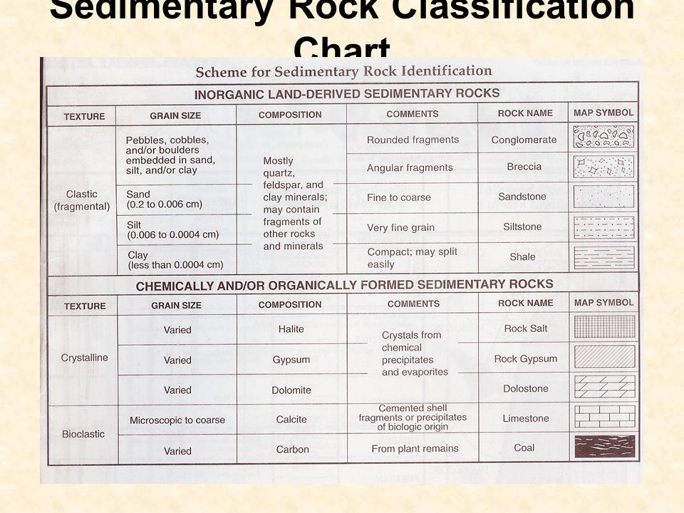 33 Sedimentary Rock Clification Chart