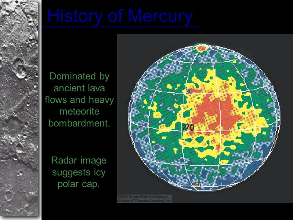 History of Mercury Dominated by ancient lava flows and heavy meteorite bombardment.