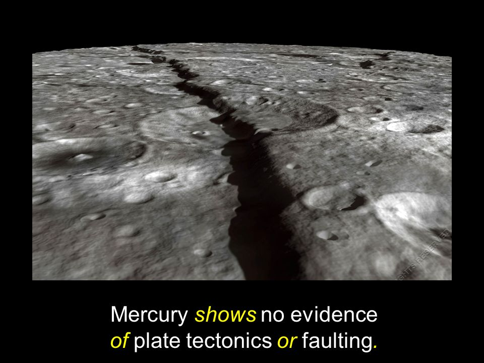 Mercury shows no evidence of plate tectonics or faulting.