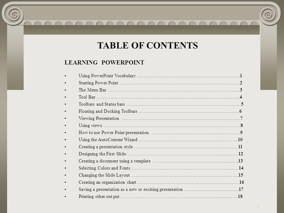 table of contents learning powerpoint ppt download