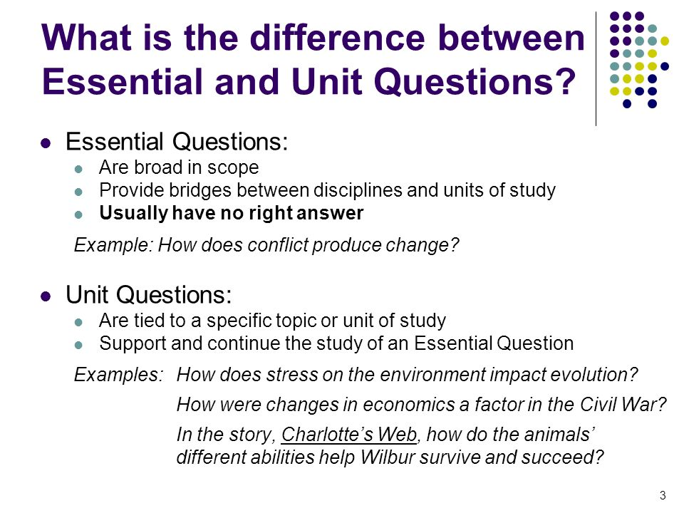 unit essential questions essay Unit 1 assessment (to be completed any time after progress reports): this multiple choice reading comprehension test will assess students' knowledge and skills of unit one.