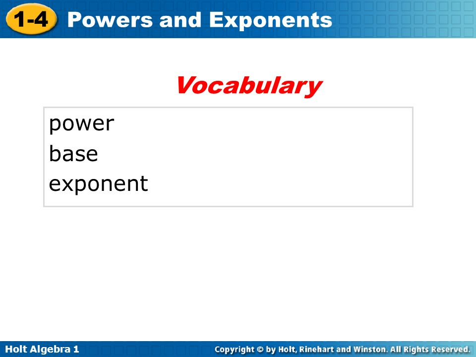 Vocabulary power base exponent