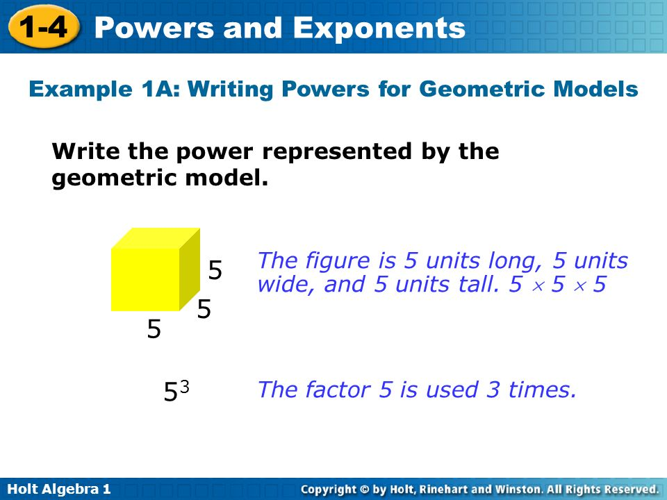 Example 1A: Writing Powers for Geometric Models