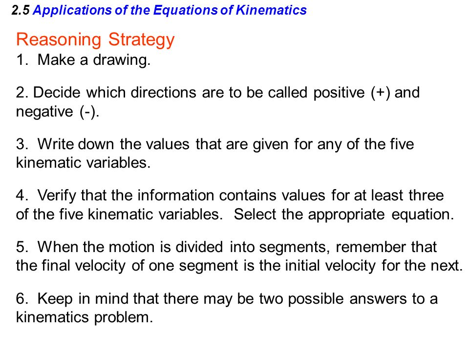 2.5 Applications of the Equations of Kinematics