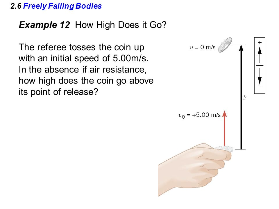 Example 12 How High Does it Go The referee tosses the coin up