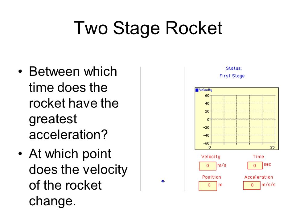 Two Stage Rocket Between which time does the rocket have the greatest acceleration.