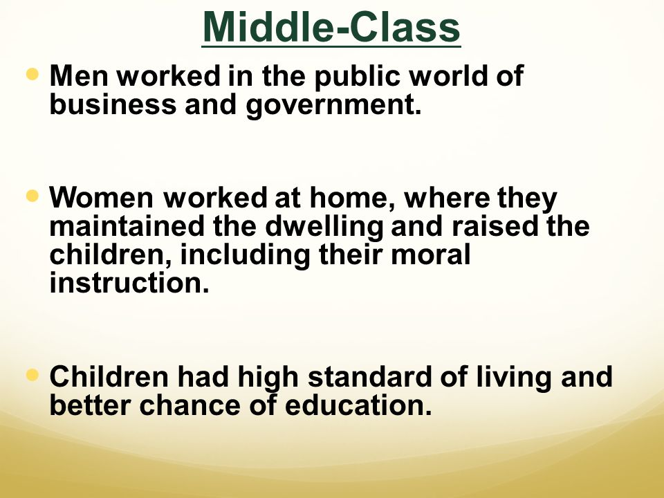 Middle-Class Men worked in the public world of business and government.