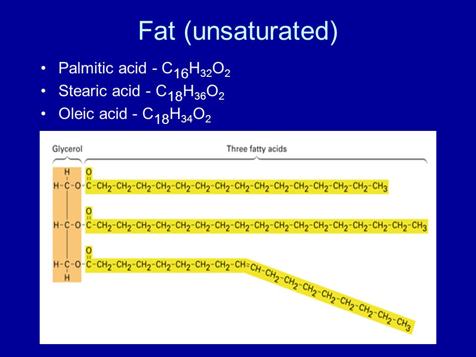 Fat (unsaturated) Palmitic acid - C16H32O2 Stearic acid - C18H36O2