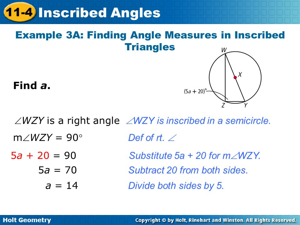 Example 3A: Finding Angle Measures in Inscribed Triangles