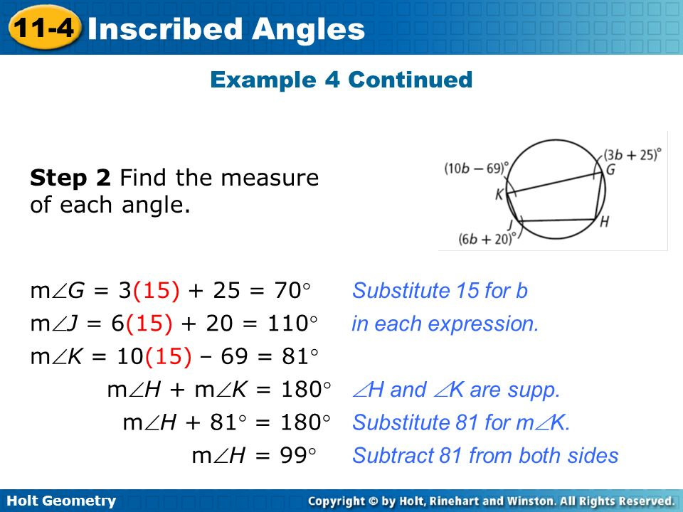 Step 2 Find the measure of each angle.