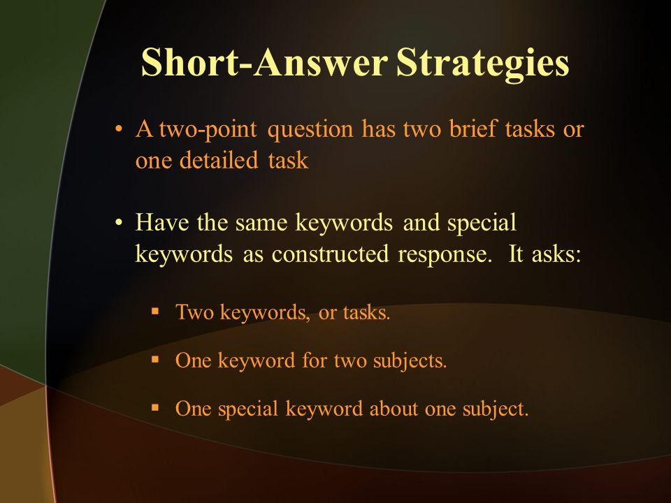 Short-Answer Strategies