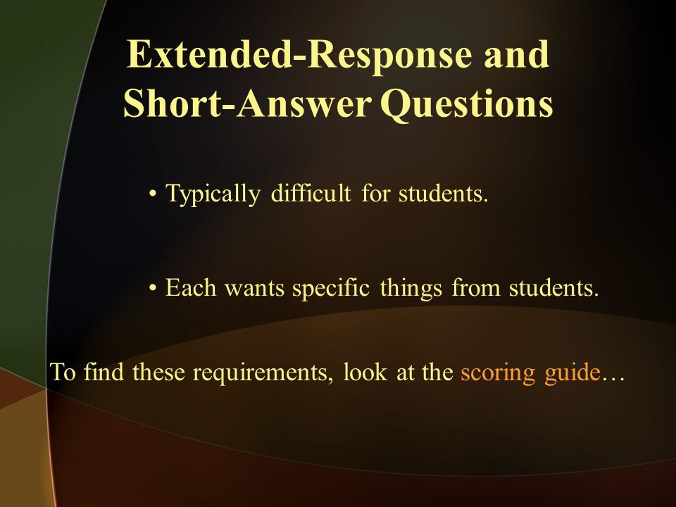 Extended-Response and Short-Answer Questions