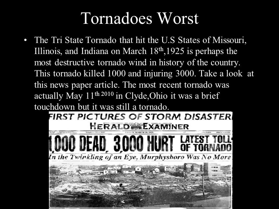 Tornadoes Worst