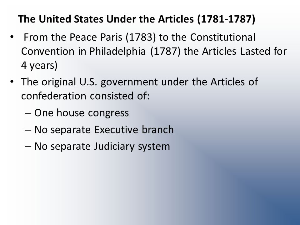 The United States Under the Articles (1781-1787)