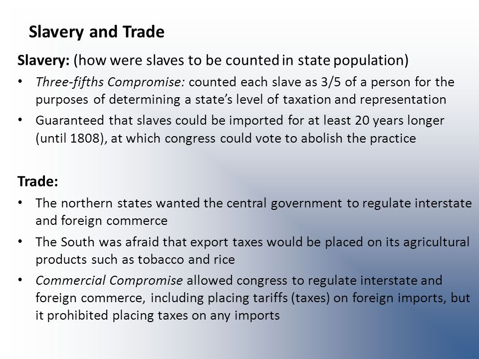 Slavery and Trade Slavery: (how were slaves to be counted in state population)