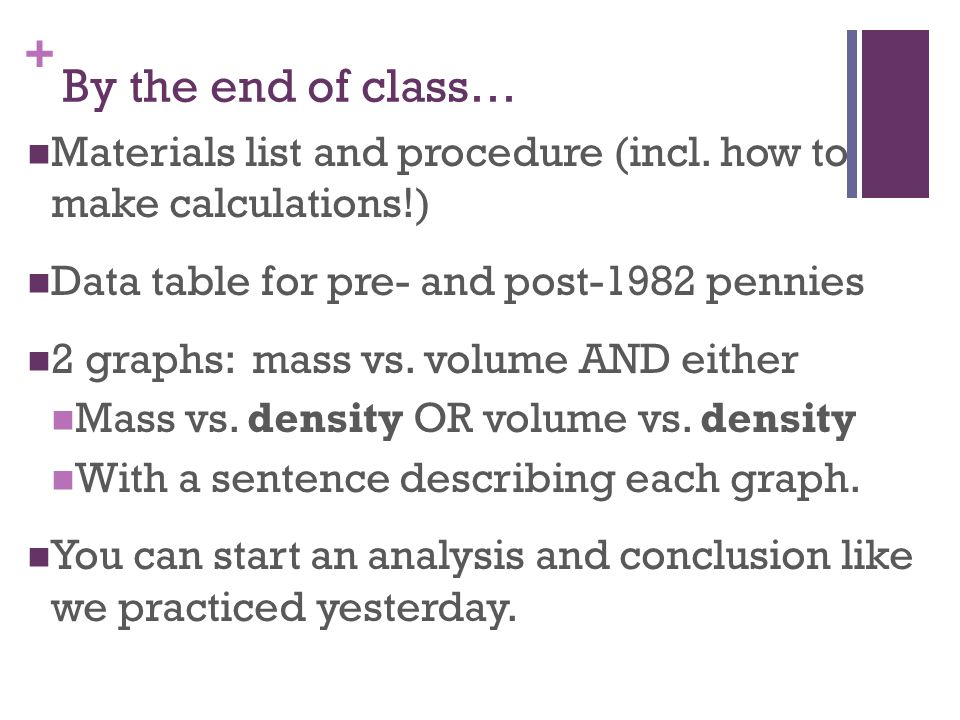 By the end of class… Materials list and procedure (incl. how to make calculations!) Data table for pre- and post-1982 pennies.