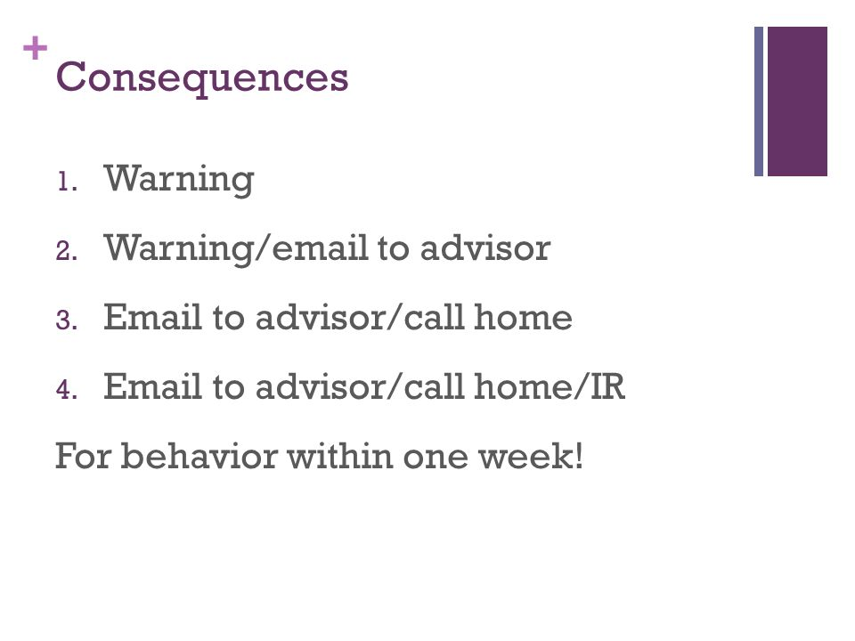Consequences Warning Warning/ to advisor