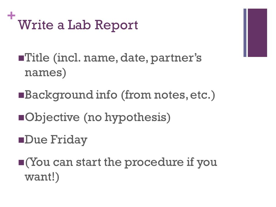 Write a Lab Report Title (incl. name, date, partner's names)