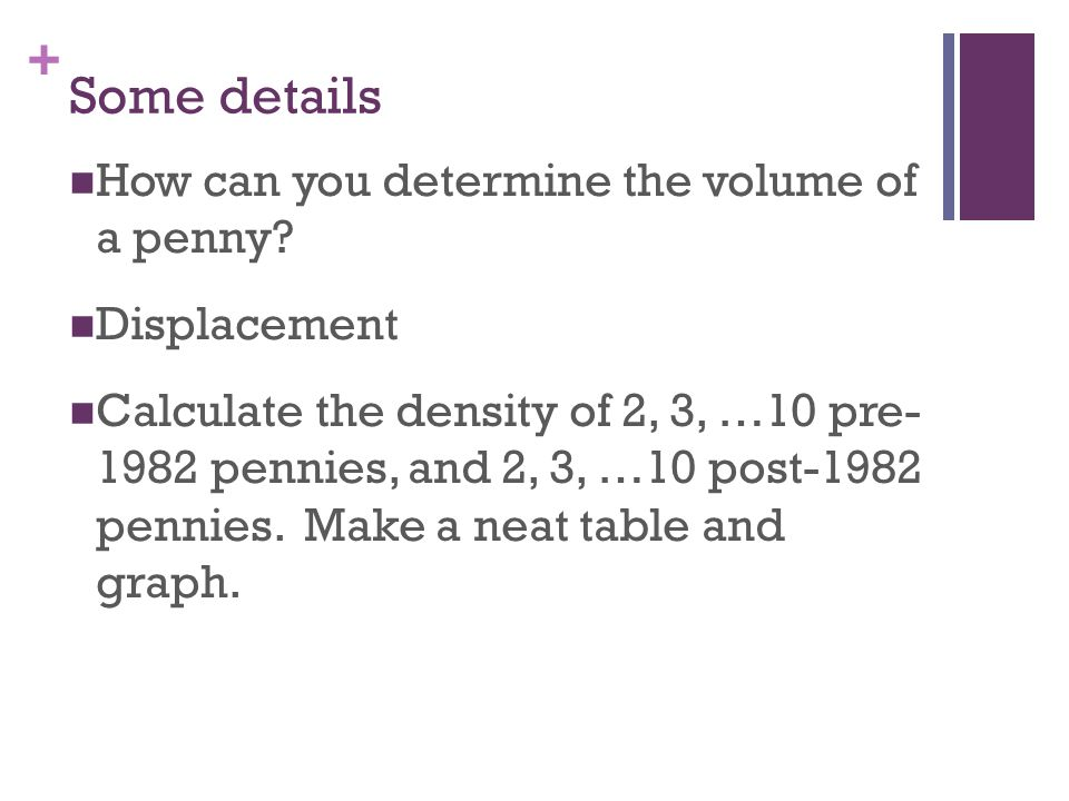 Some details How can you determine the volume of a penny Displacement