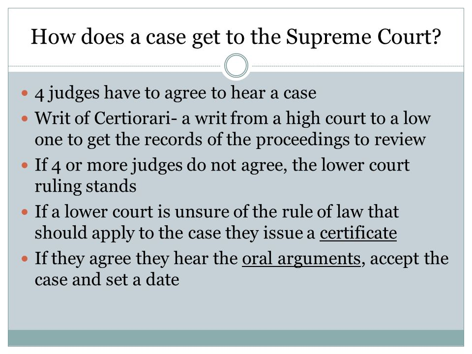 How does a case get to the Supreme Court