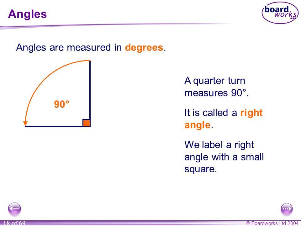 Angles Angles are measured in degrees. A quarter turn measures 90°.