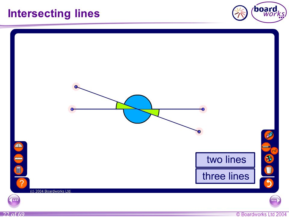 Intersecting lines Use this activity to demonstrate that vertically opposite angles are always equal.