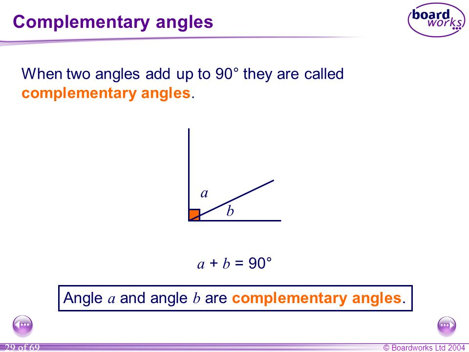 Complementary angles When two angles add up to 90° they are called complementary angles. a. b.