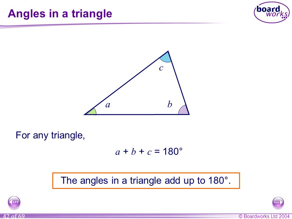 The angles in a triangle add up to 180°.